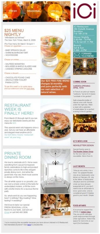 Un buon esempio di newsletter per un ristorante: informazioni di contatto, offerte sul menù, appuntamenti