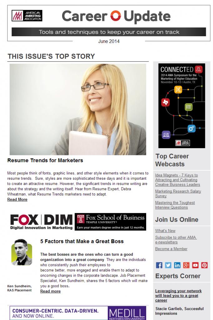 L'American Marketing Association permette l'iscrizione a diverse newsletter tematiche. Ognuna è identificata da un nome e da una descrizione che ne identifica il settore e i temi trattati